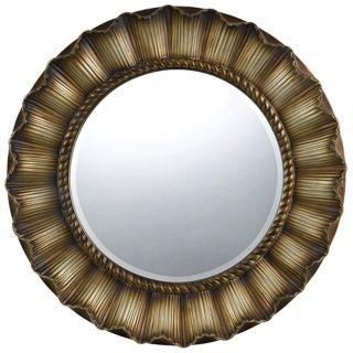 """Oberlin Round 33"""" Golden Wall Mirror   #X6921"""