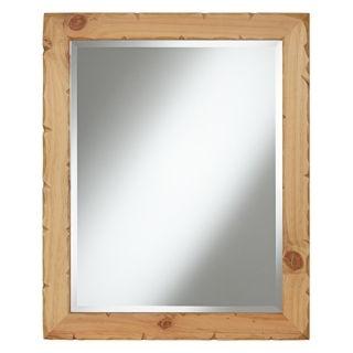 "Natural Pine Wood 28"" High Wall Mirror   #X0581"