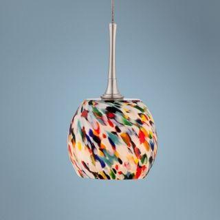 "Multi Color 12"" High Art Glass Mini Pendant   #X6648"