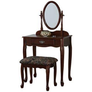 Powell Heirloom Cherry Vanity Mirror and Bench Set   #N5560