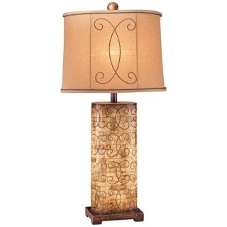 Ambience Collection Beige Column Table Lamp   #P9986