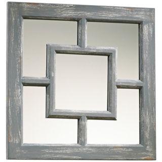 "Ashbury 17"" Square Distressed Gray Wall Mirror   #X7231"