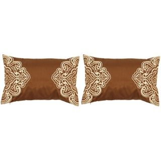 "Surya Chocolate and Cream 20"" Wide Set of 2 Lumbar Pillows   #J8413"