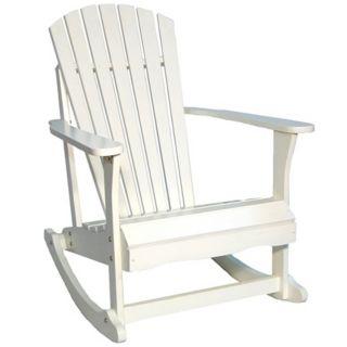 Adirondack White Finish Solid Wood Porch Rocker Chair   #T4761