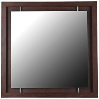 "Mahogany Moderne 34"" Square Wall Mirror   #T5044"