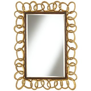 "Chain Link 41 3/4"" High Antique Gold Wall Mirror   #W4097"