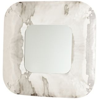 "Nash 31 1/2"" Square Hammered Iron Contemporary Wall Mirror   #W4245"