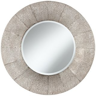 "Pounded Metal 31 1/2"" High Round Wall Mirror   #X5955"
