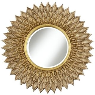 "Sunflower 36"" Wide Antique Gold Wall Mirror   #W9002"