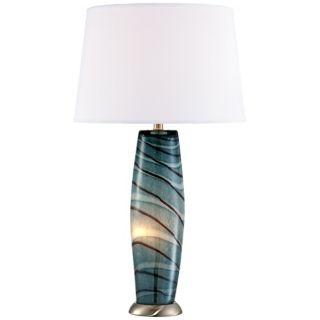 Possini Euro Design Blue Art Glass Night Light Table Lamp   #U2620