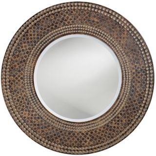 "Antique Oak and Maple Finish Round 35"" Wide Wall Mirror   #H5522"
