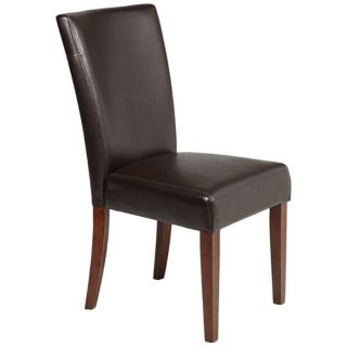 Powell Axelrod Dark Brown Bonded Leather Parsons Chair   #U4890