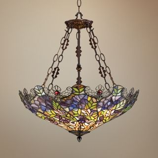 Floral Garden 3 Light Tiffany Glass Bowl Pendant   #W3007