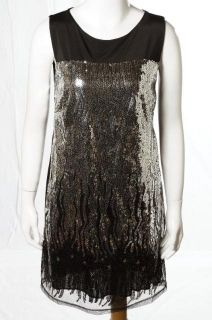 Romeo Juliet Couture Black Sequined LBD Sleeveless Clubwear Dress Sz M