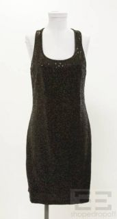 Romeo Juliet Couture Black Gold Sequined Racerback Sleeveless Dress Sz
