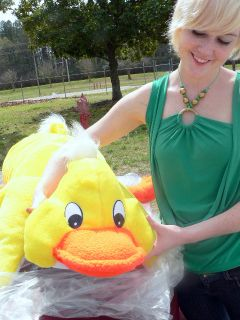 Giant Stuffed Yellow Duck 3 feet long Easter Big Plush Stuffed Made in
