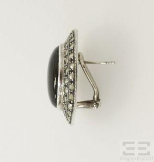 Judith Jack Sterling Silver Marcasite Black Onyx Oval Clasp Earrings