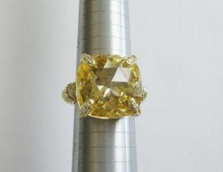 Judith Ripka R Co 14k Yellow Gold Canary Crystal Diamond Ring