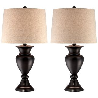 Set of 2 Metal Urn Bronze Table Lamps   #V1854