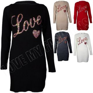 New Womens Ladies Sequinned Love Jumper Dress Knitted Top Size 8 10 14