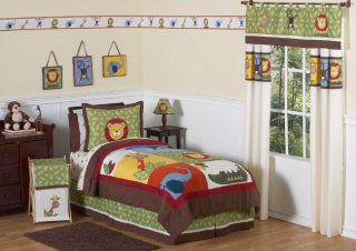 Jungle Animal Safari Full Queen Boy Kids Bedding Set