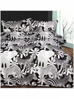 Retro Jungle Black Quilt DOONA Cover Set Bedding Queen Elephant Zebra