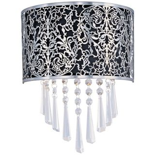 "Maxim Rapture Black 9 3/4"" Wide Satin Nickel Wall Sconce   #V2565"