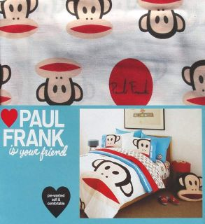 Paul Frank Julius Friends Monkey Red White Blue 3pc Twin Sheets
