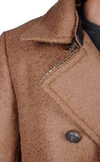 Just Cavalli Wool Double Breasted Coat Peacoat with Detachable Collar