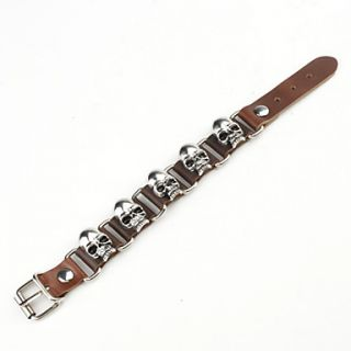 EUR € 5.88   Sikringsanlæg Skull Studded Leather Bracelet, Gratis