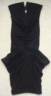 1,080 JULIEN MACDONALD Black Draped Crepe Jersey Dress 42 NWT Net A