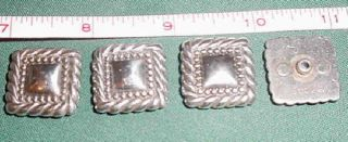 Set 4 Silver Square Rope Edges Screw Back Conchos Belts