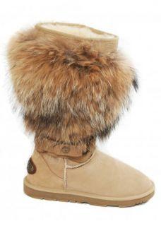 KOS Boots KOS Sienna Boots Raccoon Fur Sand Boot
