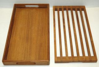 KALMAR DESIGNS TEAK WOOD Serving Tray 2 Pieces. Measure 15 1/2 x 8 1