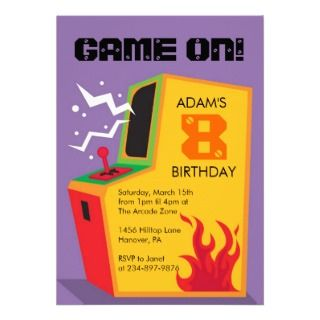 Arcade Video Games Birthday Party Invitation