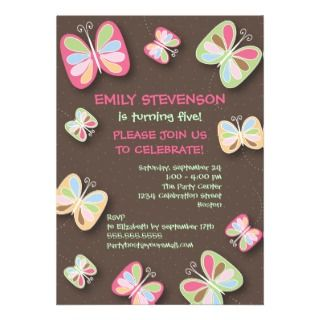Butterfly Birthday Party Invitation Pink & Brown