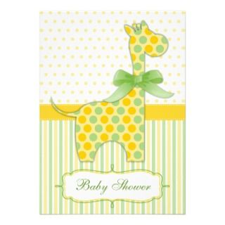 Yellow and Green Giraffe Baby Shower Invitation