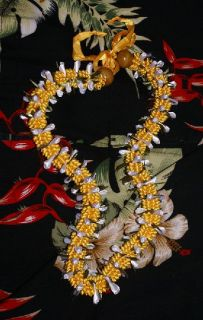 Graduation Day GOLD & WHITE RIBBON LEI NECKLACE FROM KANEOHE, HAWAII