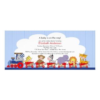 Safari Jungle Animals Train Baby Shower Invitation