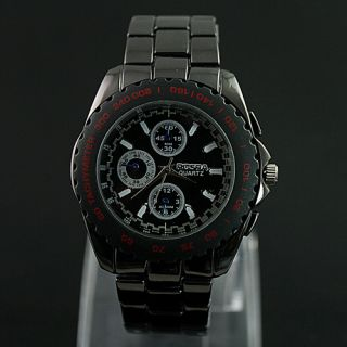 Fashion Style Cool Black Man Mens Black Quartz Wrist Watch KAN