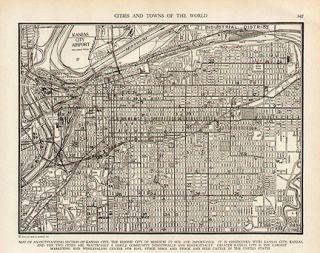 Kansas City MO Missouri WW2 Vintage Map Authentic 1941