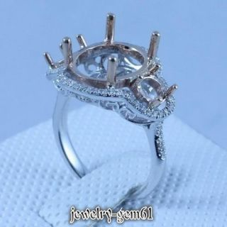 14kt Two Tone Gold Natural Diamond Semi Mount Engagement Ring