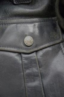 Vintage Kale Motorcycle Police Jacket Black Leather Chrome Buttons Sz