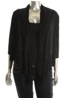 Karen Kane New Black Double Layer Asymmetric Drapey Cardigan Top Shirt