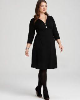 Karen Kane New V Neck 3 4 Sleeve Faux Wrap Top Little Black Dress Plus