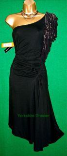 BN Karen Millen Black One Shoulder Fringe Beading Dress
