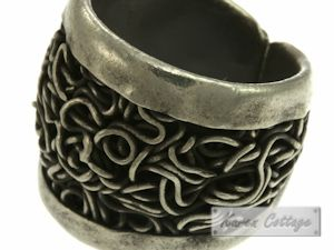 Karen Hill Tribe Sterling Silver Tribal Black Vine Ring