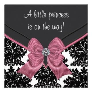 Pink Bow Princess Baby Shower Personalized Invitations