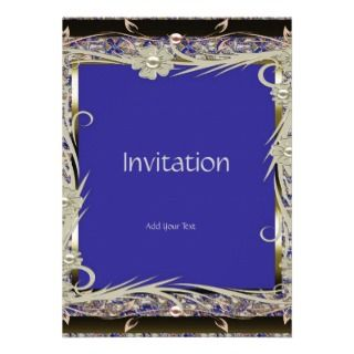 Invitation Vintage Elegant Gold Blue Floral