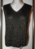 Karen Kane L Sweater Twinset Cardigan Shell Black Metallic Gold 2